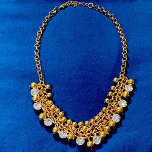Gold Necklace with Pearls and Rhinestones